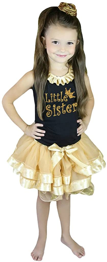 Petitebella Bling Little Sister Black Shirt Gold Stars Khaki Petal Skirt Nb-8y