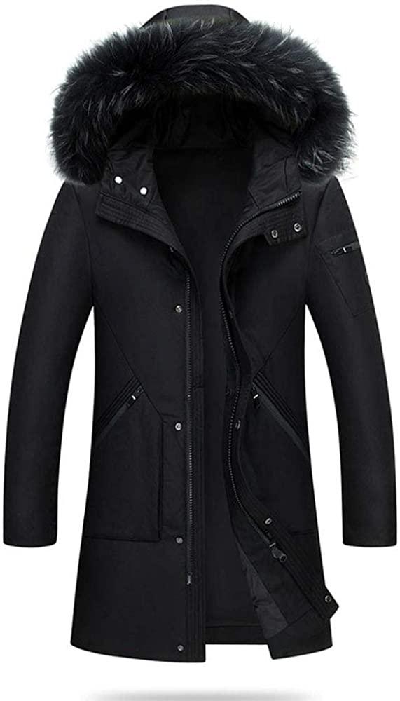 Newdeve Mens Down Jacket Long Black Packable Over Outwear Jacket