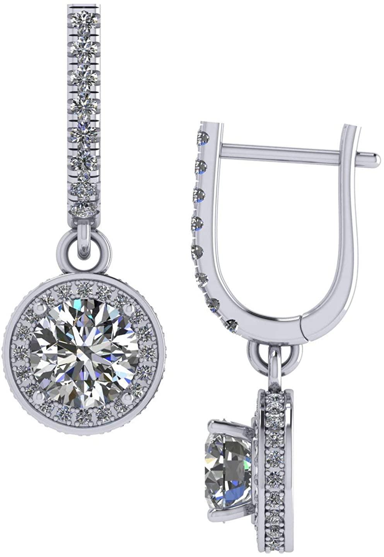 Sterling Silver Dangle Drop Leverback Halo Earrings w/ 3ctw Swarovski Zirconia CZ Simulated Diamonds