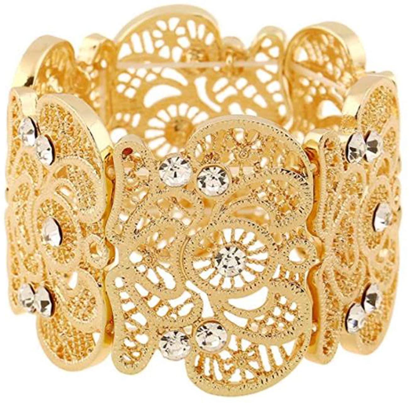 SL SweetLove Women's Rhinestone Stretch Bracelets-Flower Hollow Cuff Bangle for Ladies 6.5-7''
