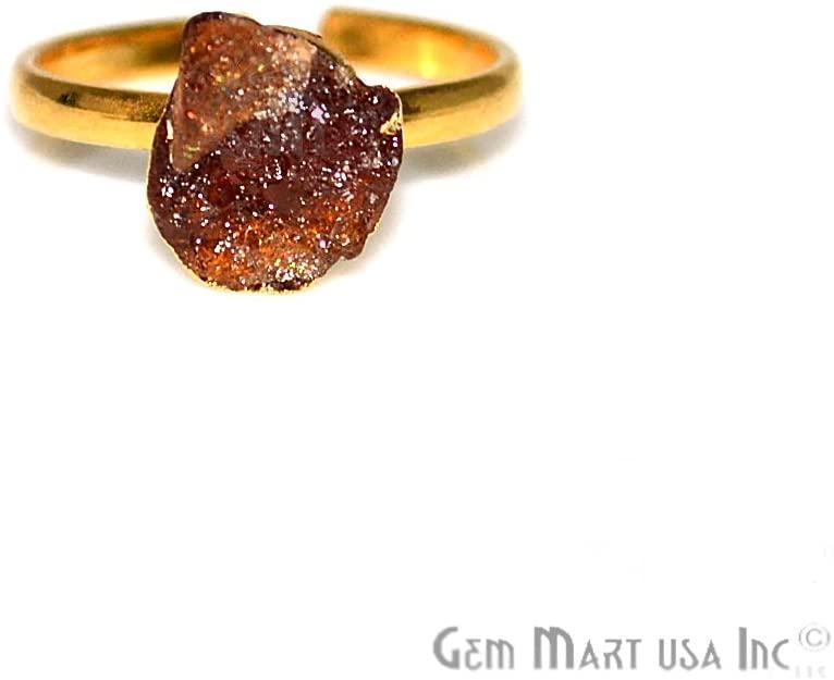 Champagne Quartz Rough Stone Ring, 8x10mm Gold Edged Gemstone Adjustable Band Ring GemMartUSA (CQRG-12019)