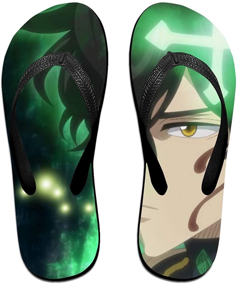 Black Clover Anime Flip Flops Beach Sandals Thong Slippers for Indoor Outdoor Bathroom Shower