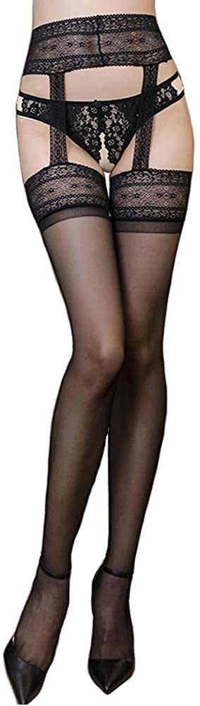 Women's Hosiery Suspender Thing High Stockings with Attached Garter Belt