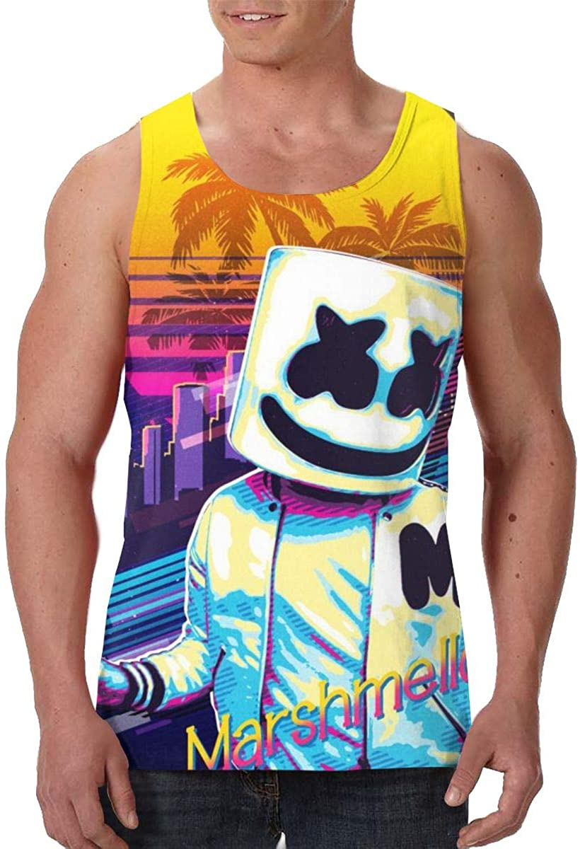 DamaYong Tiesto Mens Tank Top Shirt Crew Neck Sleeveless Graphic Summer Tee Vest Tops