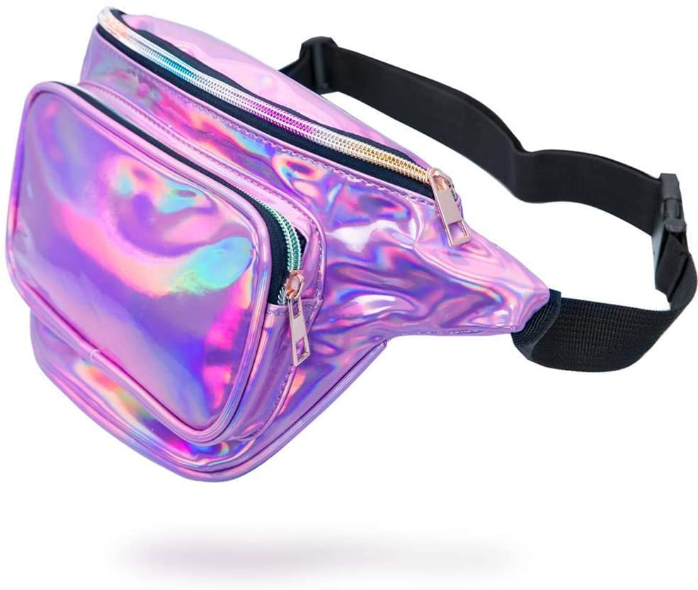 MDcharm Purple Holographic Fanny Pack - Waist Pack for Women/Girls, Iridescent Fanny Packs, Cute Fanny Pack for Rave Festivals