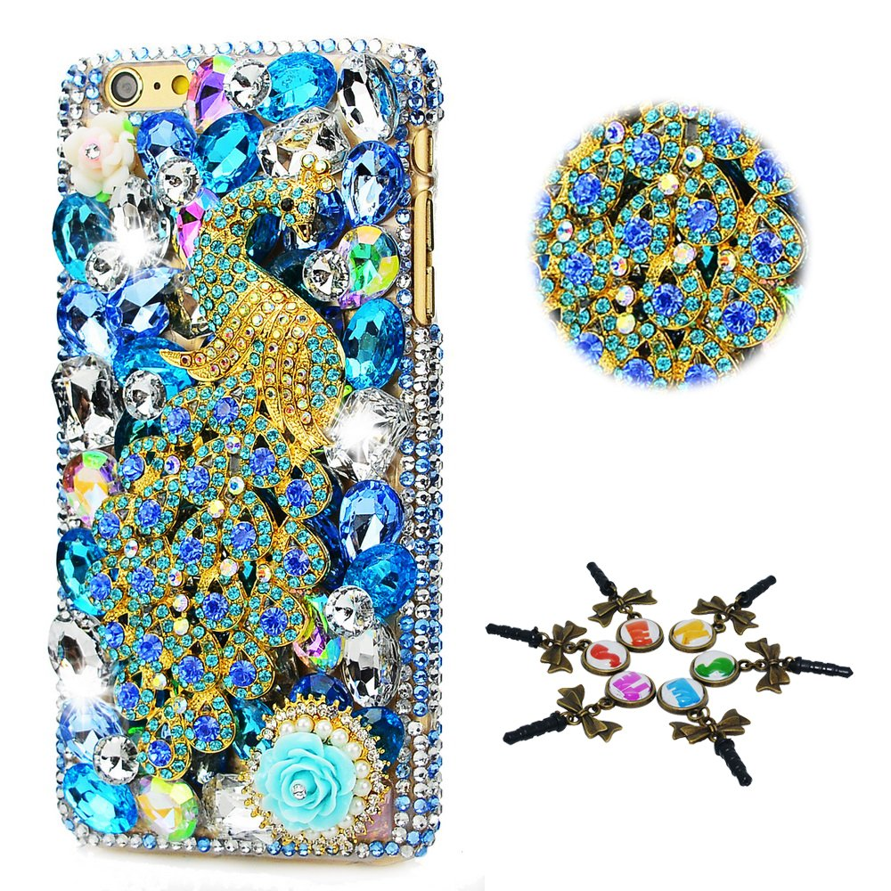 STENES Sony Xperia XZ1 Compact Case - STYLISH - 100+ Bling Crystal - 3D Handmade Peacock Rose Flowers Design Protective Case For Sony Xperia XZ1 Compact G8441 - Blue