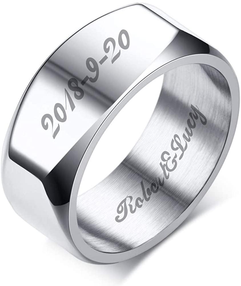 Custom Engraving Stainless Steel Simple Black Band Ring Wedding Ring Men Boy