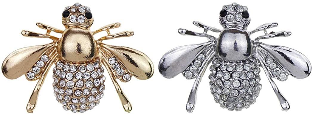 AnaPin Rhinestones Bee Brooch Pin 2 Pcs Set Enamel Pins Lapel Badges Gold Silver