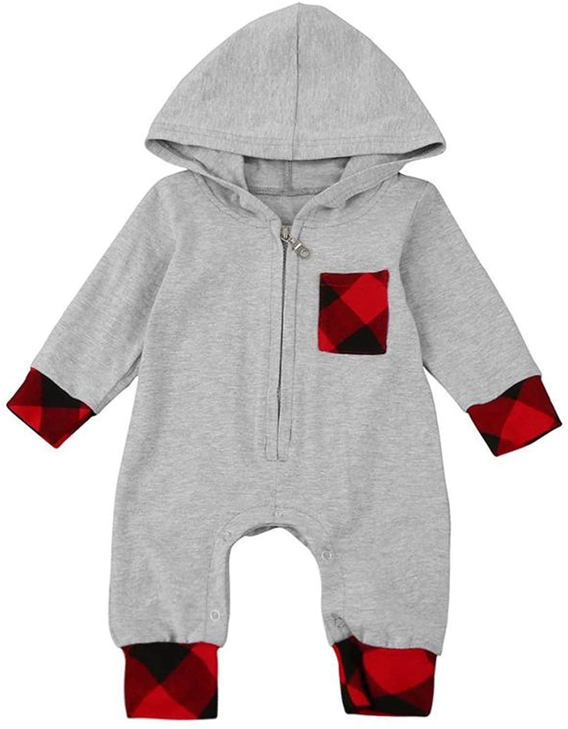 Infant Baby Boy Girl Plaid Hooded Jumpsuit Outfits