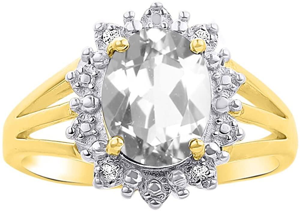 Diamond & White Topaz Ring Set In 14K Yellow Gold - Princess Diana Inspired Halo Desginer