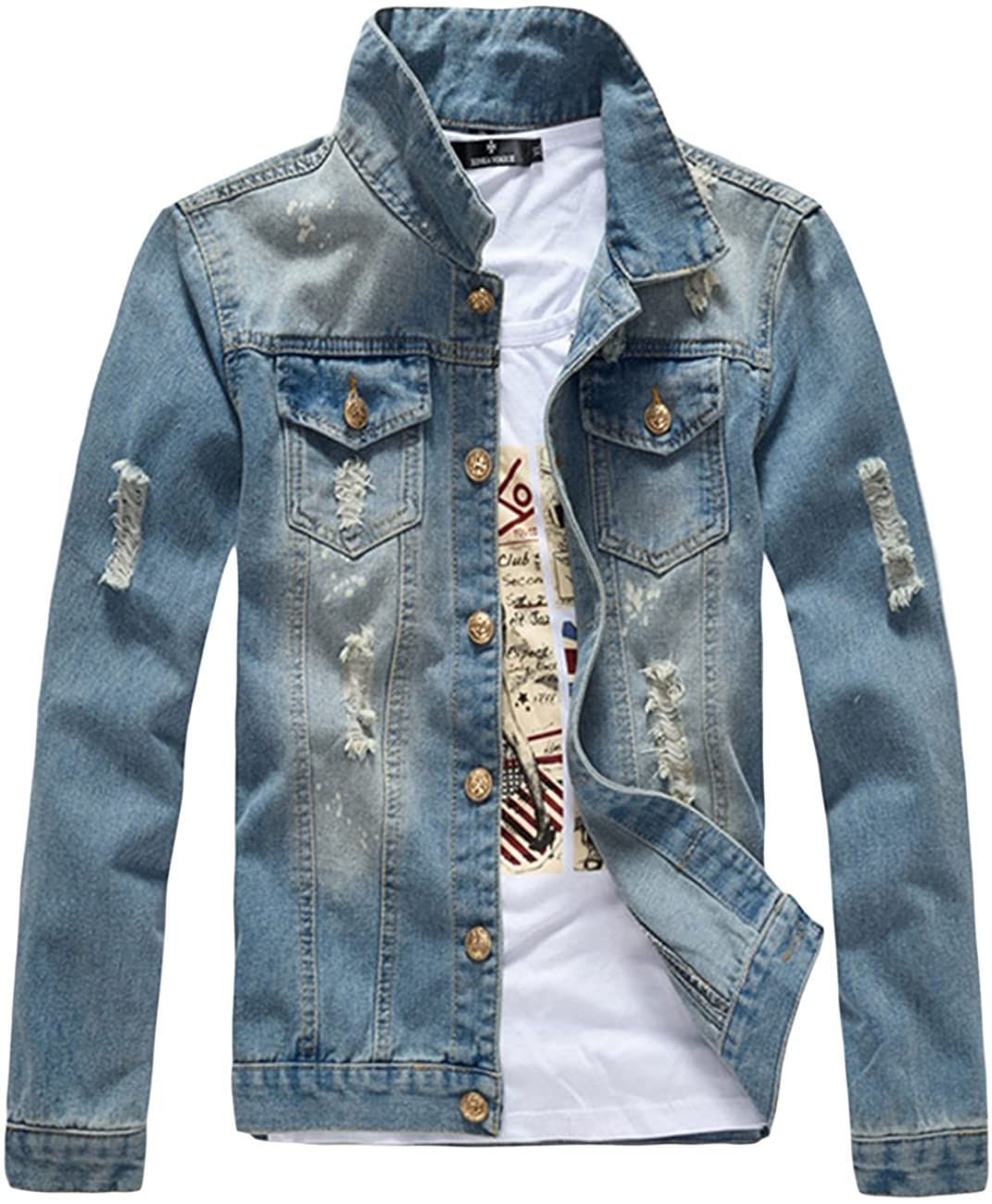 sandbank Men's Classic Button Slim Fit Ripped Washed Denim Jacket Jean Coat