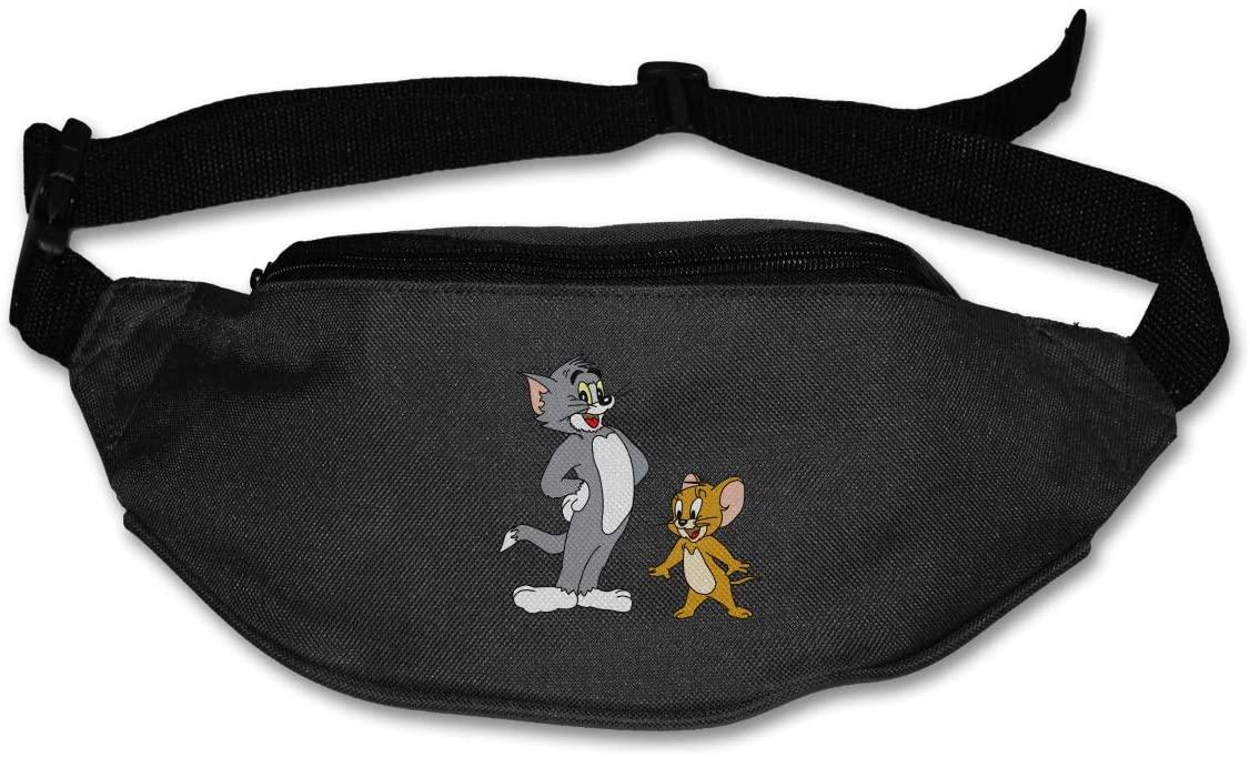 Sunlenvai Tom and Jerry Pack Runners Belt Fanny Pack Running Belt Waist Black