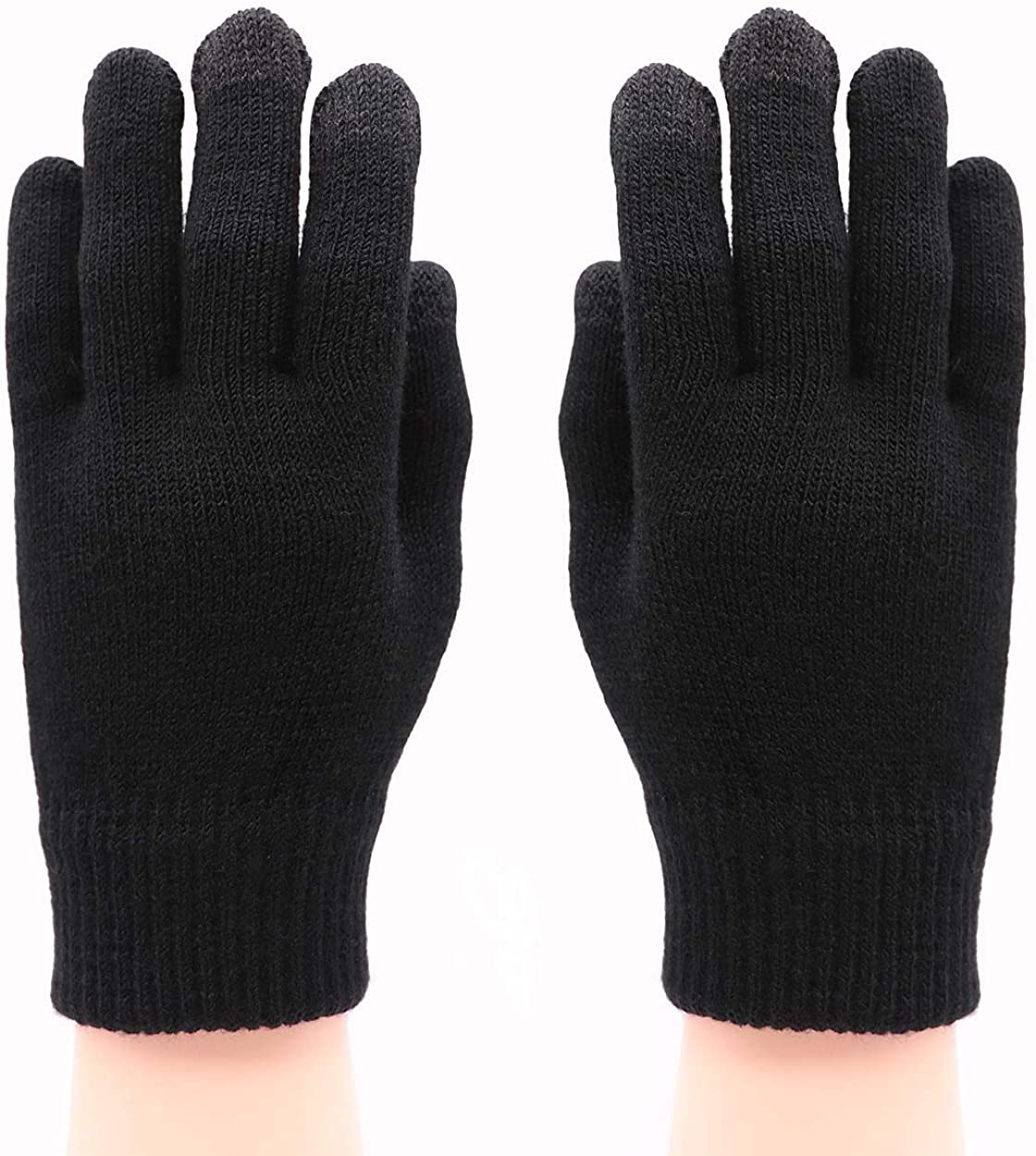 Men Winter Touchscreen Knit GlovesWarm Soft Texting Mittens for Smartphone Iphone Ipad with Warm Wool Lining
