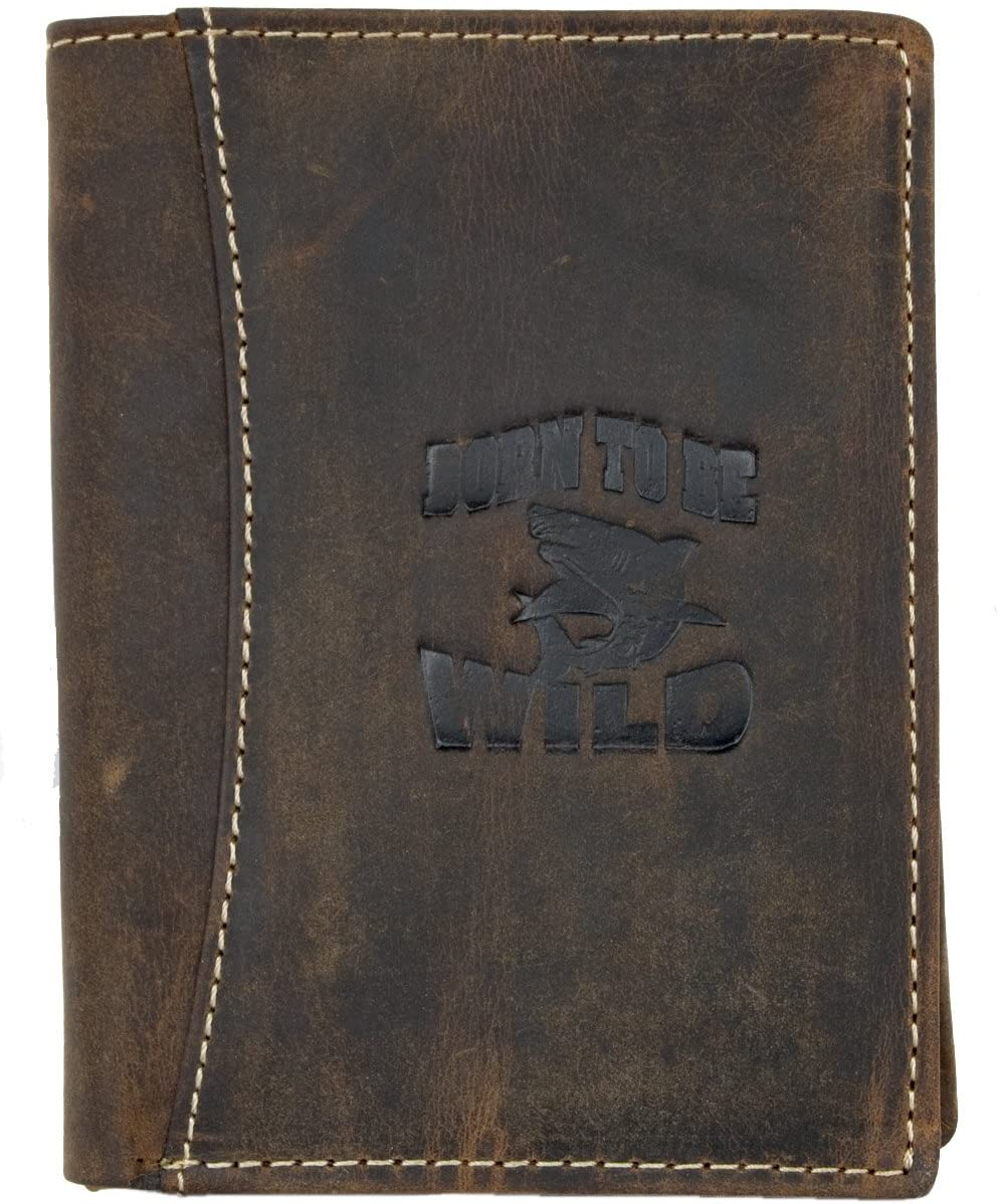Men's Vertical Genuine Leather Wallet Born to Be Wild with a Shark