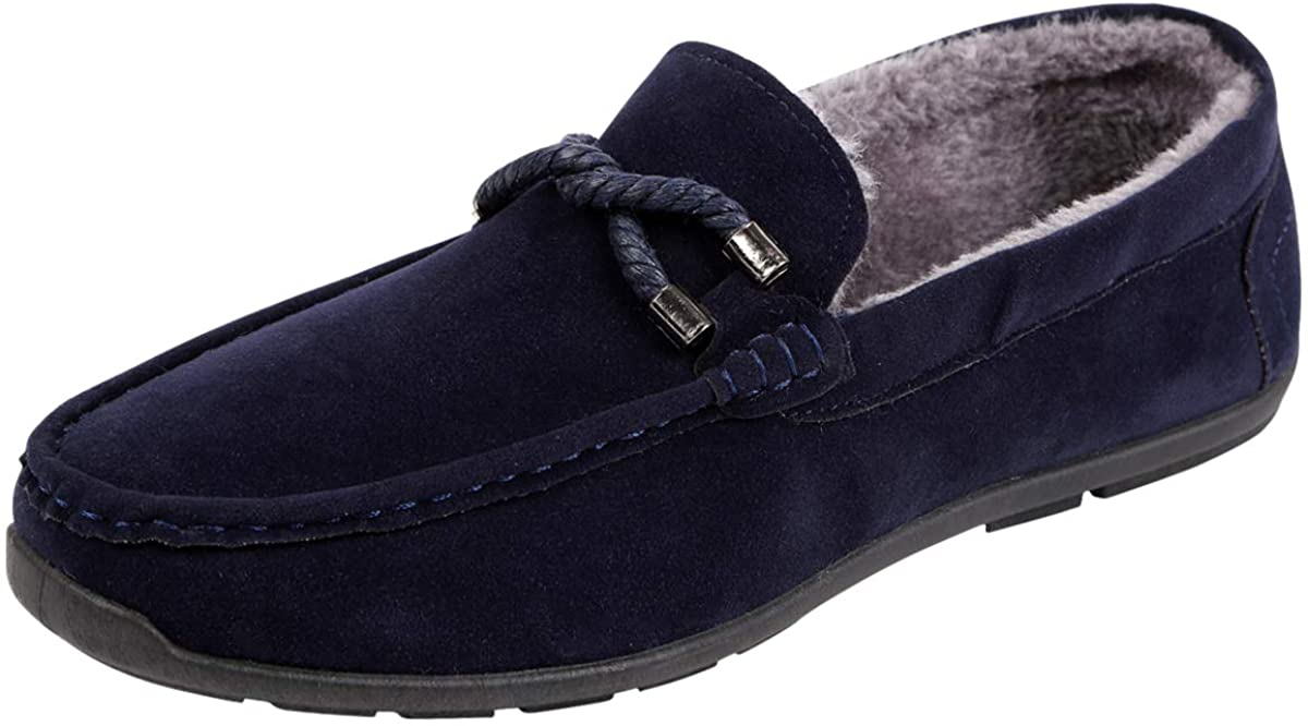 NUOTE Men's Faux Fur Lined Suede House Slippers, Breathable Indoor Outdoor Moccasins Shoes Loafers with Plush Lining