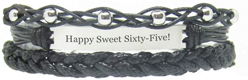 Miiras Birthday Engraved Handmade Bracelet - Happy Sweet Sixty-Five! - Black 1 - Gift for Women, Girls, Friends, Mothers, Daughters, Aunts who are Sixty-Five Years Old