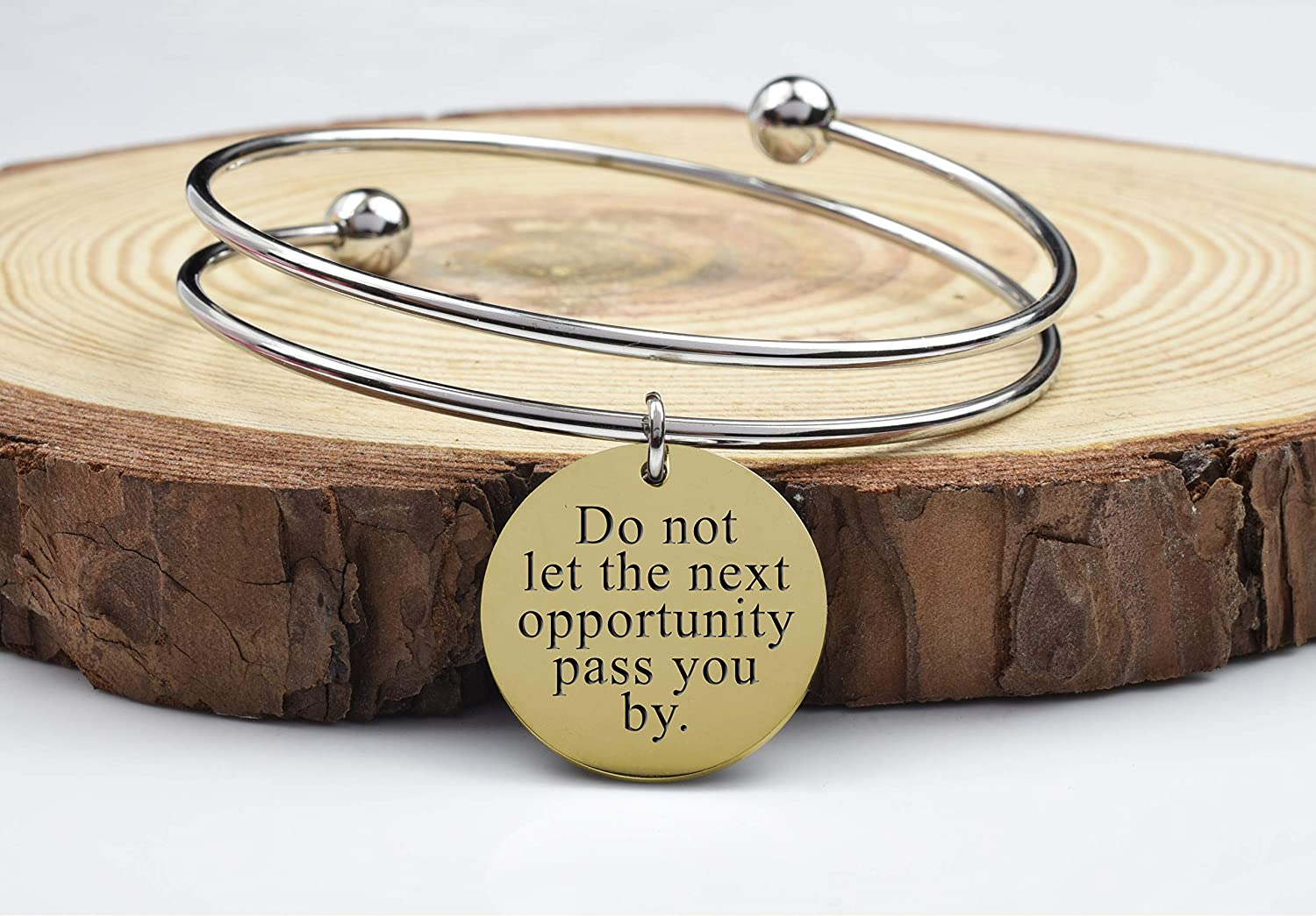 Two-Tone Double Layer Inspirational Bangles By Pink Box - Next Opportunity - Gold