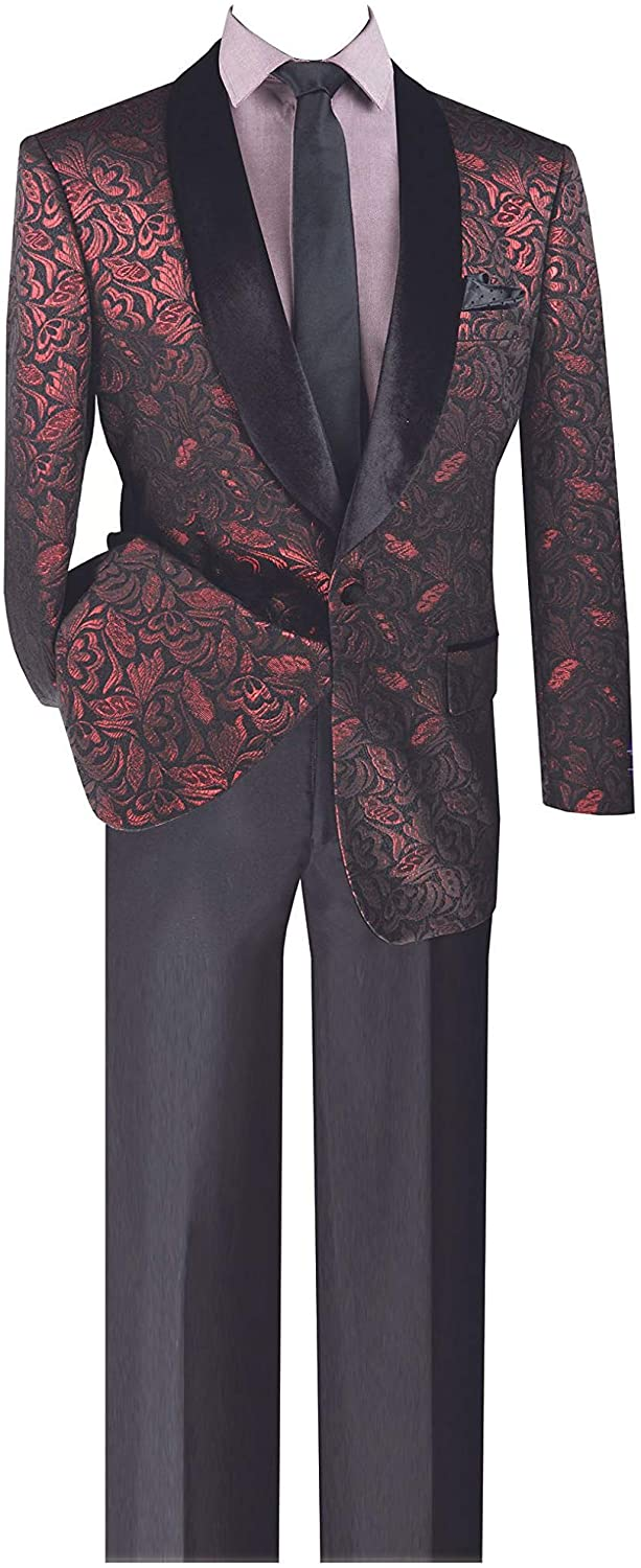 VINCI 1 Button Single Breasted Regular Fit Metallic Floral Pattern Sport Coat BF-1-Ruby-XXXX-Large