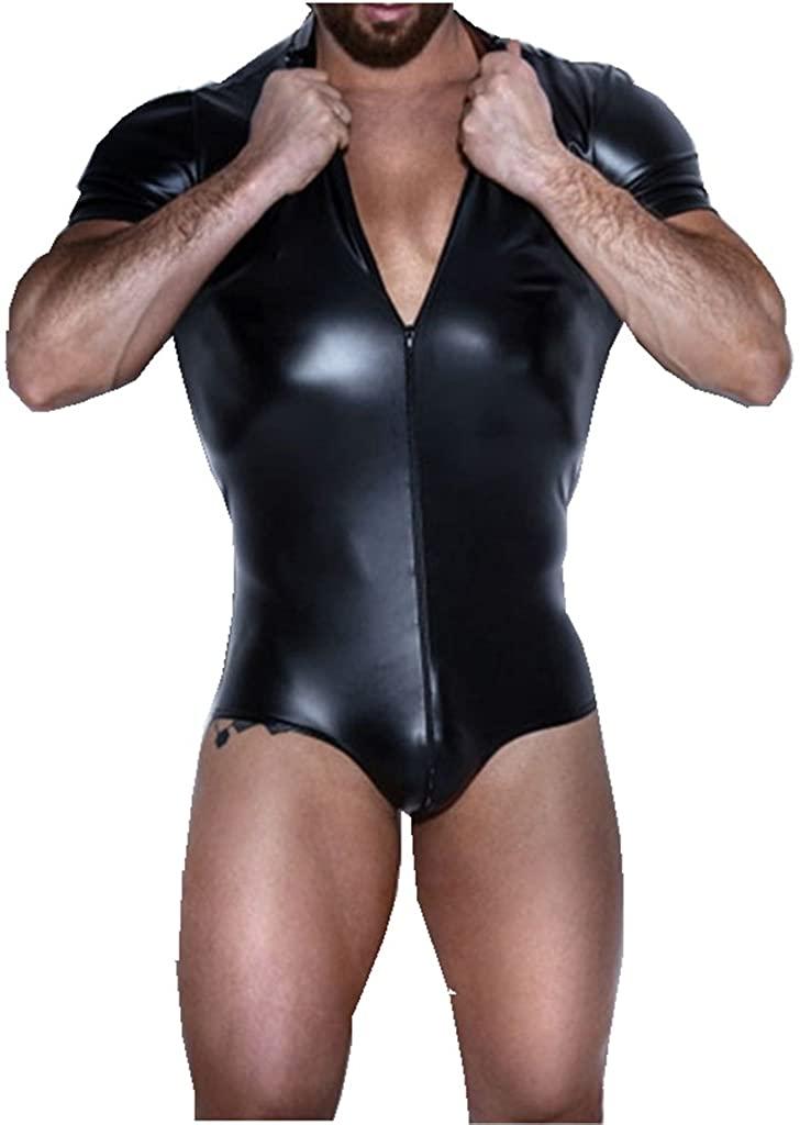 IGIG Men's Wet Look Black Leather Bodysuit Catsuit Zipper Clubwear Costumes