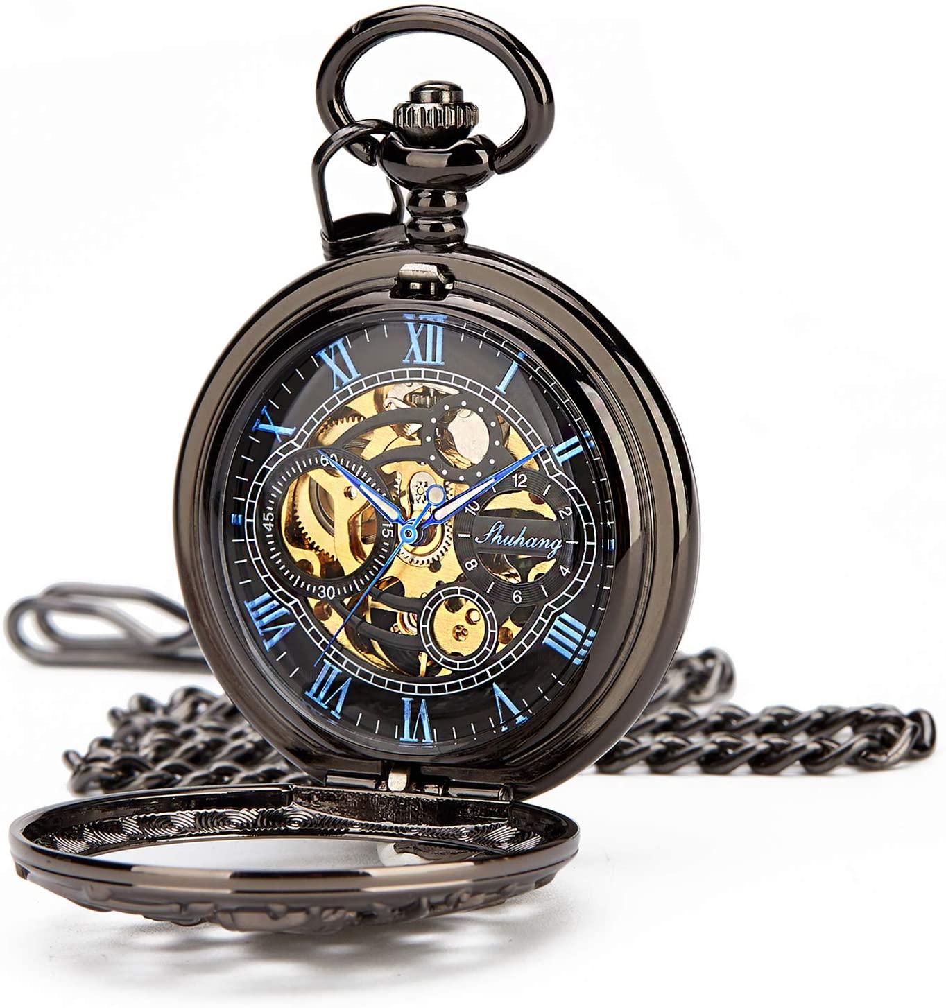 Retro Mens Dragon Black Blue Half Double Hunter Skeleton Mechanical Roman Numerals Pocket Watch with Chain Box