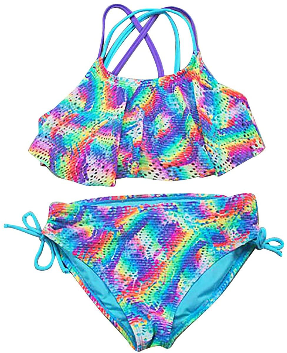 Freebily Kids Girls Spaghetti Straps Bikini Tankini Set Ruffled Top with Bottoms Swimsuit Athletic Swimwear Driving Suit
