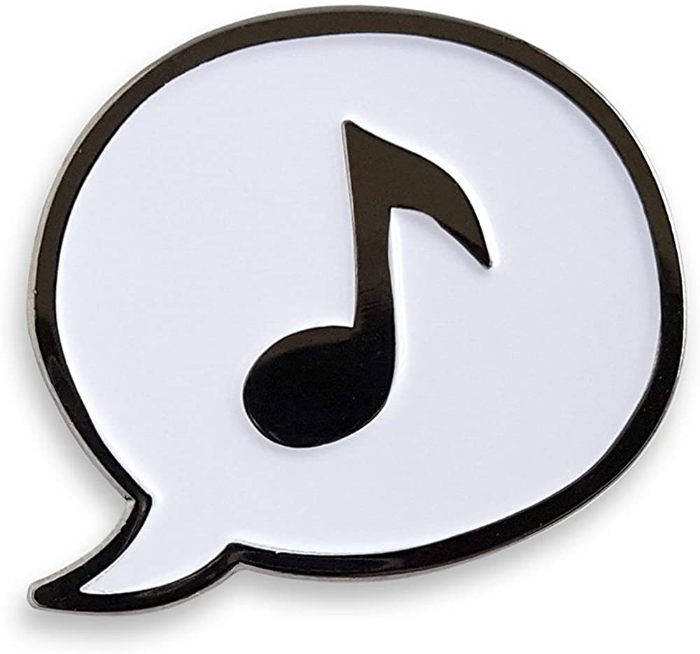 Pinsanity Music Note Enamel Lapel Pin,White,1.25 inch