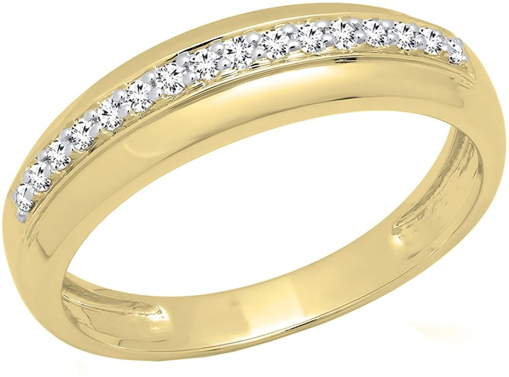 Dazzlingrock Collection 0.20 Carat (ctw) 14K Gold Round Cut White Diamond Men's Anniversary Wedding Band 1/5 CT