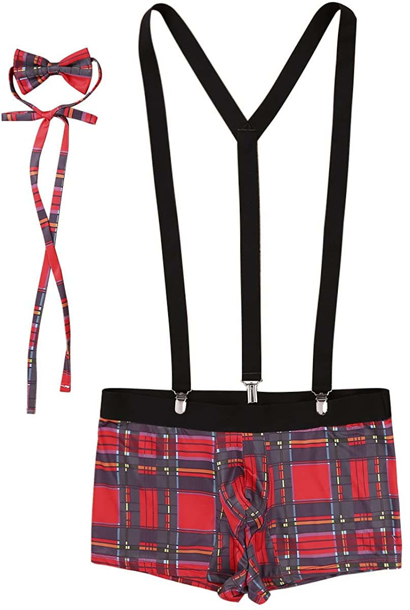 MSemis Sexy Men's School Boy Lingerie Set Boxer Briefs with Y Back Suspenders and Bowtie Outfits