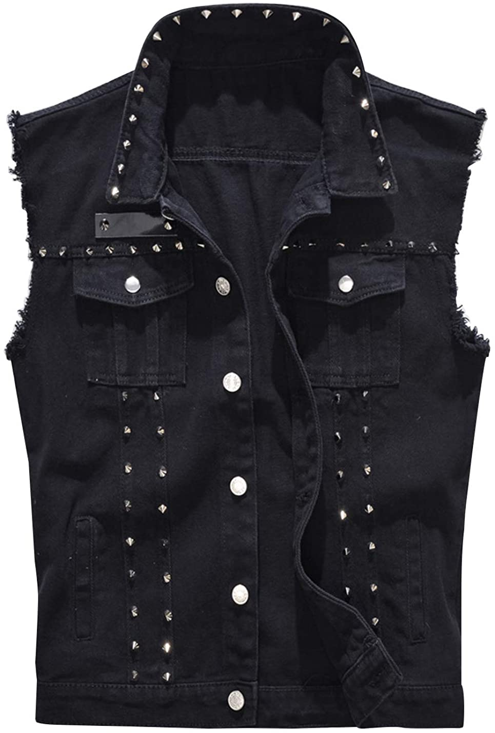 HUPOO Men's Trendy Punk Denim Vests Lapel Studded Rivets Frayed Jean Jackets Waistcoats Gilet