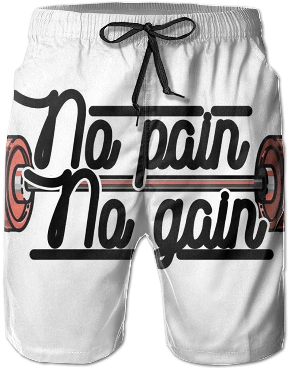 Men's Swim Trunks Quick Dry Beach Shorts No Pain No Gain Vintage Emblem Design Barbells Weightlifting Bodybuilding XL