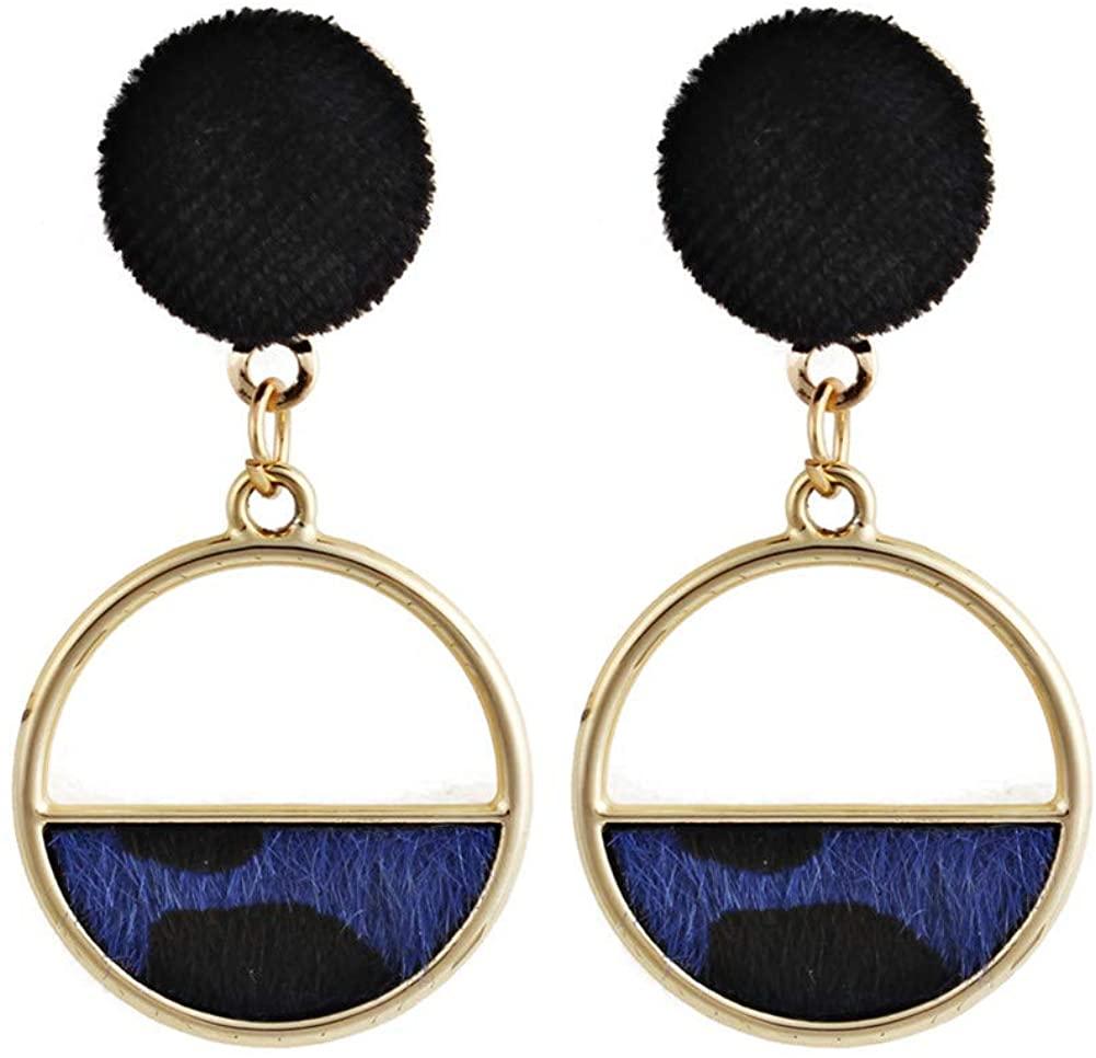 Chaimi Acrylic Leopard Round Semi Round Circle Earrings Boho Resin Acetate Dangle Earrings Jewelry for Women