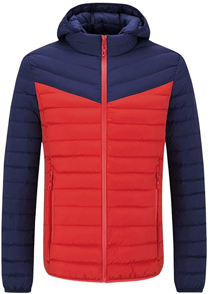 Hattfart Mens Winter Packable Hooded Puffer Down Jacket Insulated Windproof Winter Coat