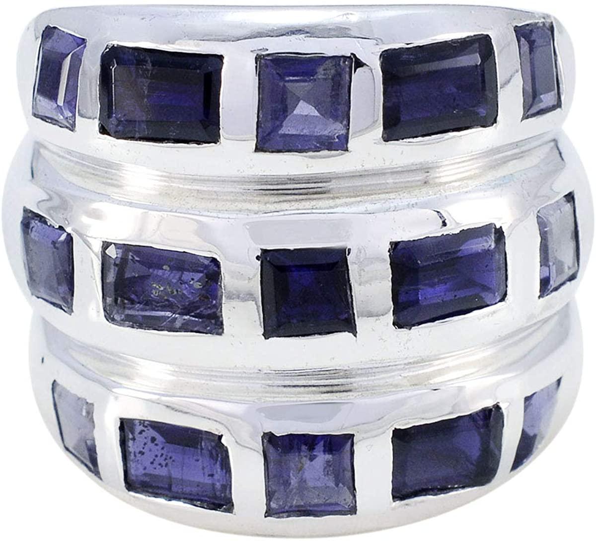 Joyas Plata Genuine Gems Square Shape Multi Stone Faceted Iolite ring-925 Sterling Silver Blue Iolite Ring-February Birth Aquarius Astrology Genuine Gems Ring SRIOLFC-7235-4 us