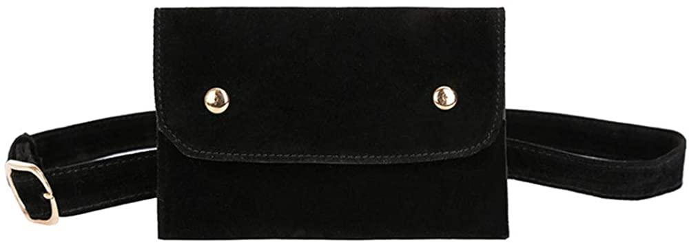 Suluo Womens Slim Belt Fanny Pack Lightweight Velvet Flap Waist Bag Bum Bag Purse Envelope Cell Phone Bags