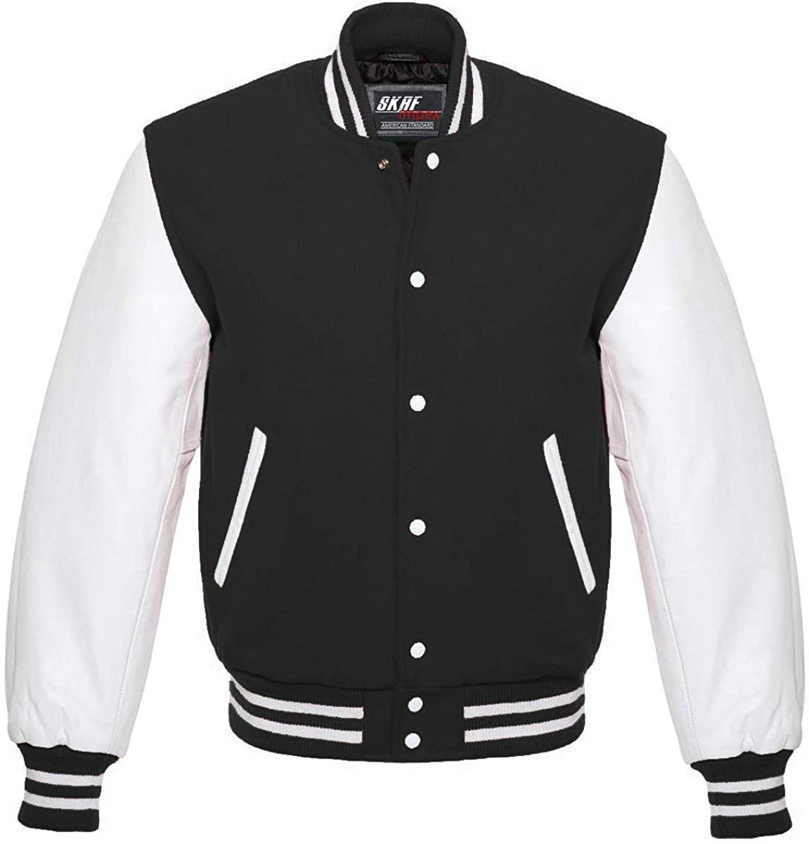 Skaf Impex Letterman Baseball Football Basketball College School Varsity Jacket Wool & Leather