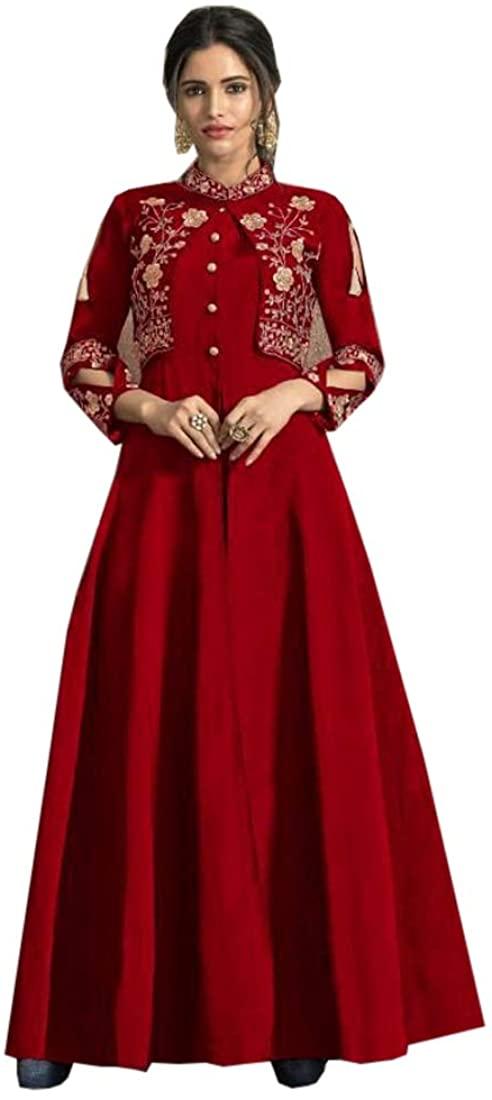 Red Tapeta Silk Indian Party wear Jacket Koti Style Kurti Muslim Women Suit 9614