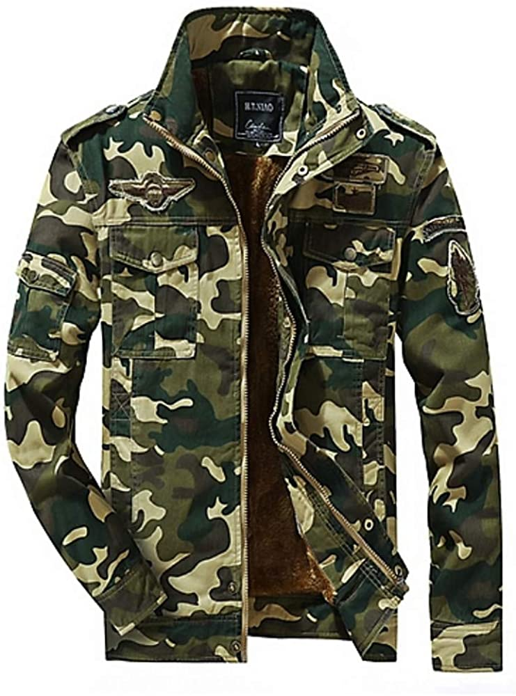 Zeious Men's Daily Military Spring Regular Jacket, Camo/Camouflage Stand Long Sleeve Cotton