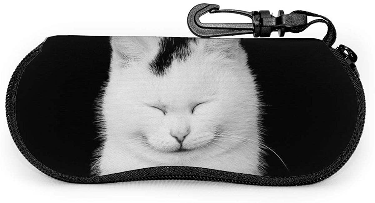 Cat Sunglasses Soft Case Zipper Eyeglass Case Protective Holder With Belt Clip