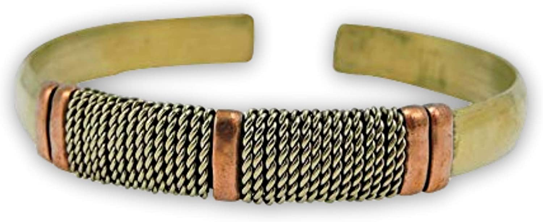 Handmade Tibetan Three Metal Medicine/Healing Bracelet from Nepal Adjustable