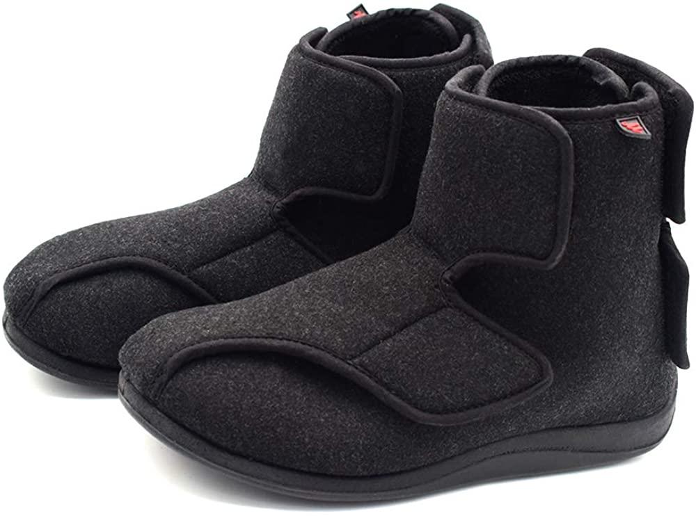Mei MACLEOD Men's Extra Wide Width Booties Slippers with Memory Foam Adjustable Closure Non-Slip House Slippers Indoor/Outdoor for Swollen Feet Plantar Fasciitis Diabetic