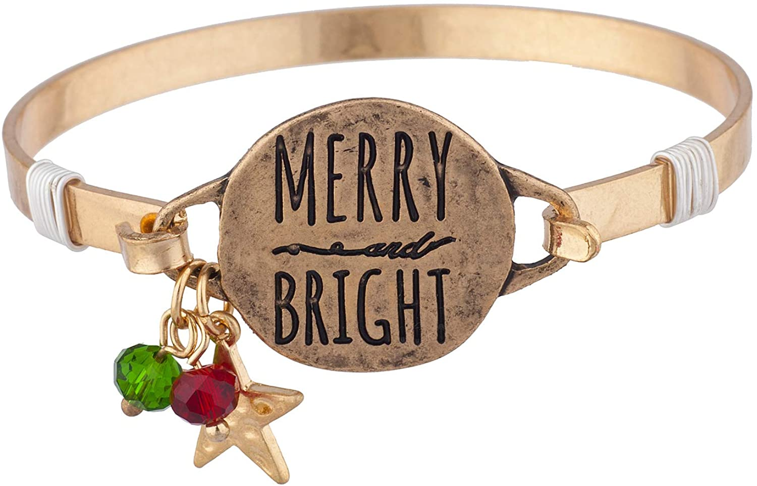 Lux Accessories Xmas Christmas Holiday Burnished Gold Engraved Merry and Bright Star Bangle Bracelet