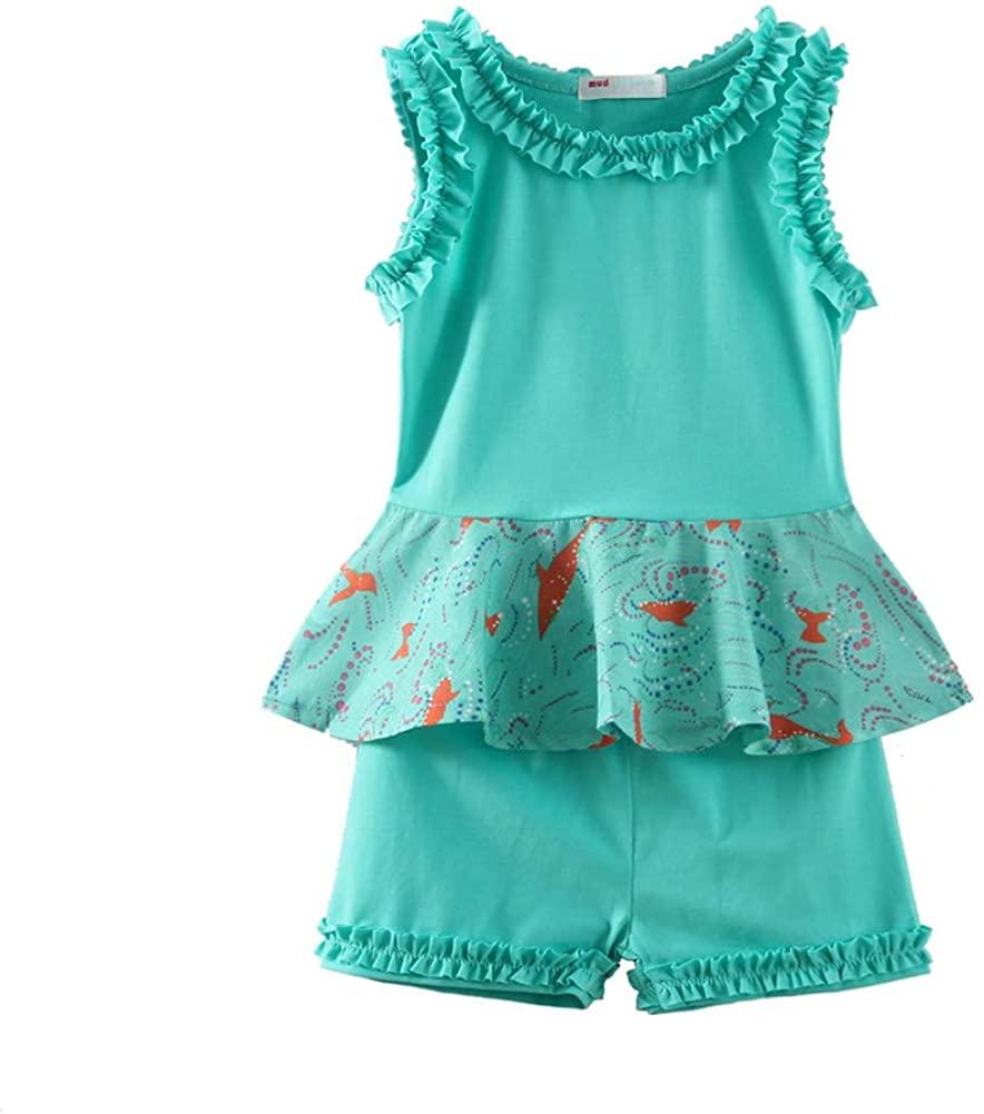 LittleSpring Little Girls Summer Outfit Floral Tank Top and Short Set