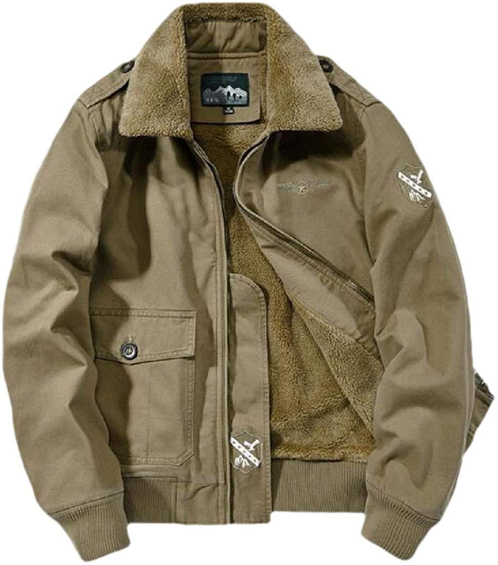 Qiangjinjiu Men Winter Military Jacket Fleece Lining Stand Collar Bomber Jackets