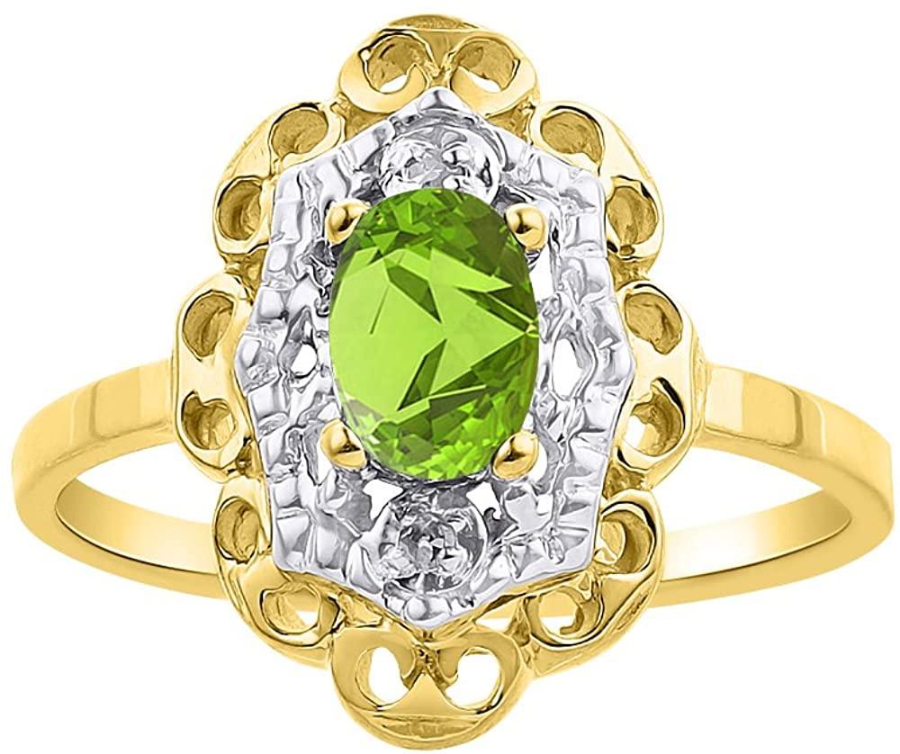 Diamond & Peridot Ring Set In Yellow Gold Plated Silver Diamond Halo