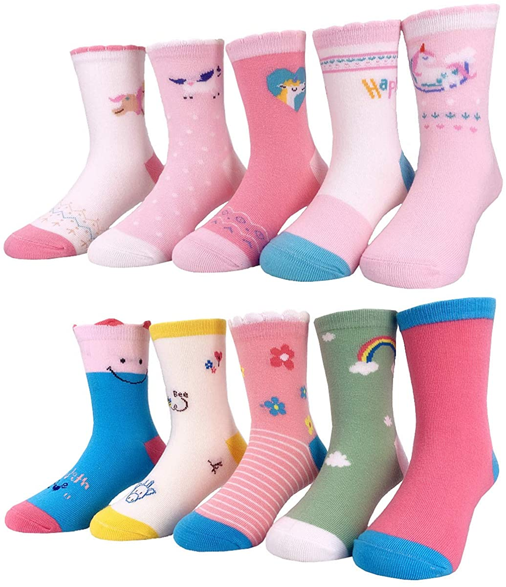 Toddler Little Girls Cotton Crew Socks 10 Pairs