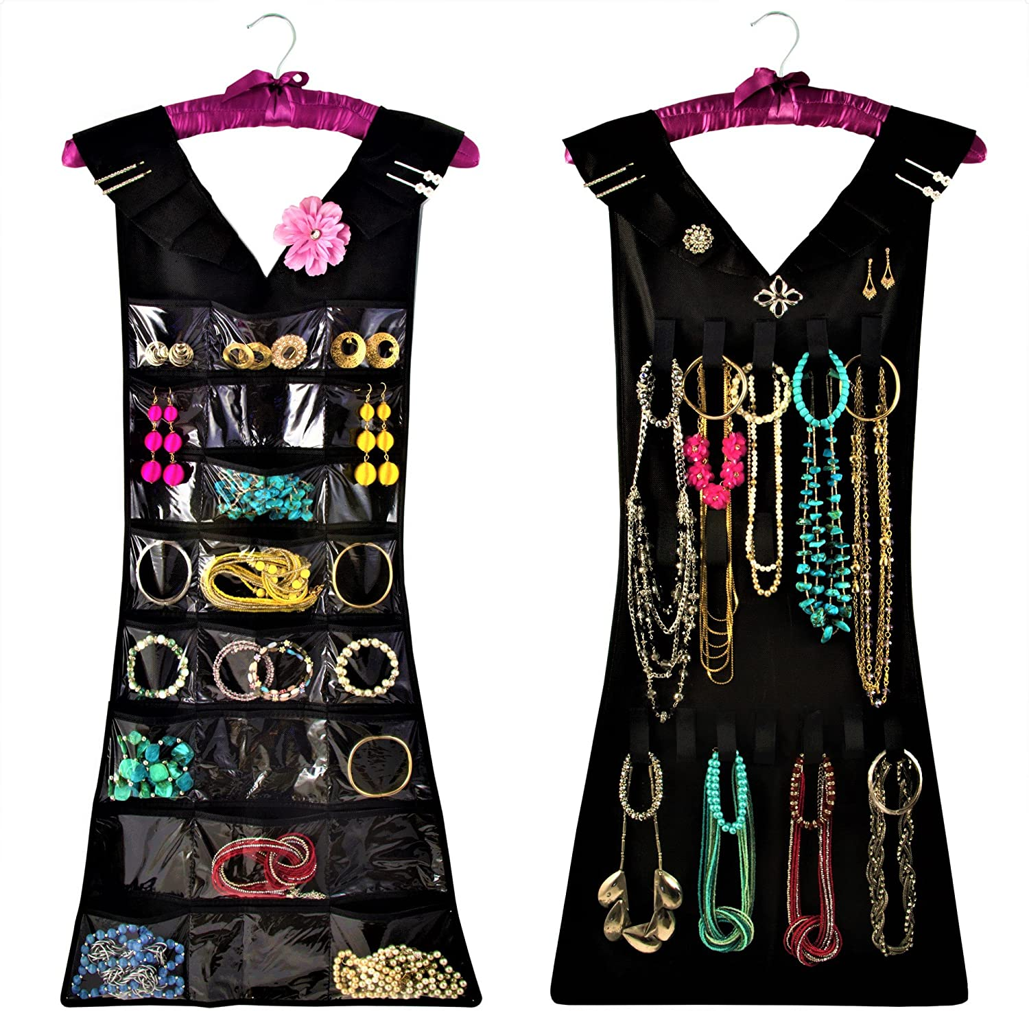 My Little Dress Hanging Jewelry Organizer with Satin Hanger, New & Improved, Closet Storage, 2 sided for Jewelry, Hair Accessories & Makeup (1-Black Dress & Pink Satin Hanger, 24 pockets 17 loops)