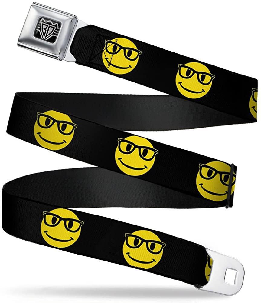 Buckle-Down Seatbelt Belt - Nerd Happy Face Black/Yellow/Black - 1.5