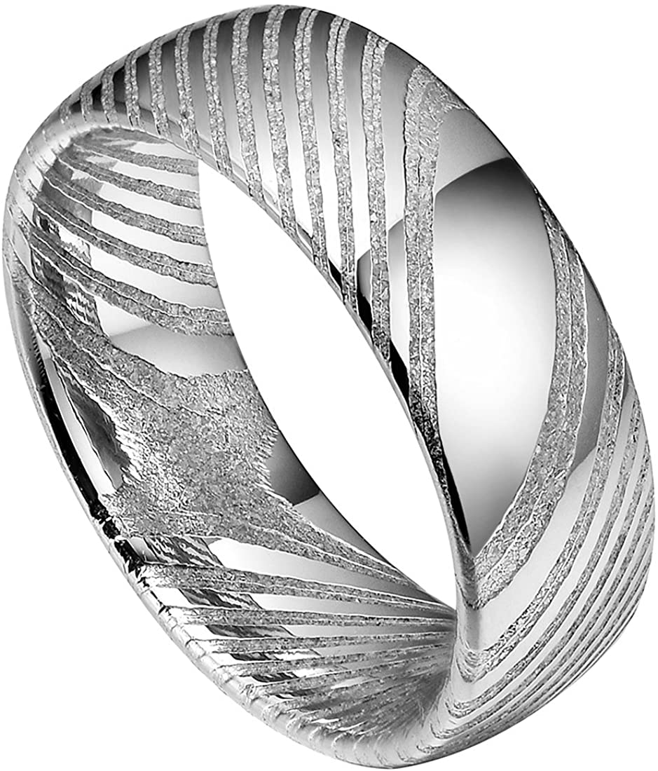 DOUX 8mm Damascus Steel Mens Wedding Ring Domed Style Wood Grain Handmade Engagement Band