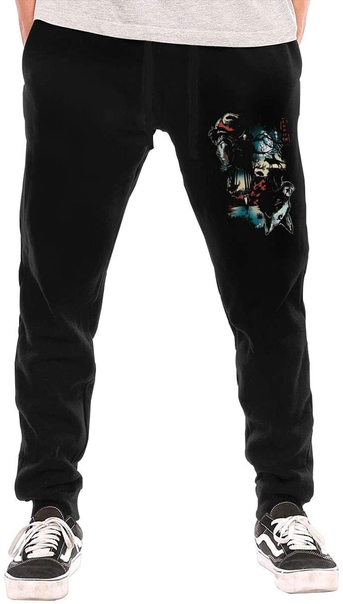 Jurenhq Princess Mononoke Art Men's Sweatpants Sport Pants Casual Teen Trousers with Pockets