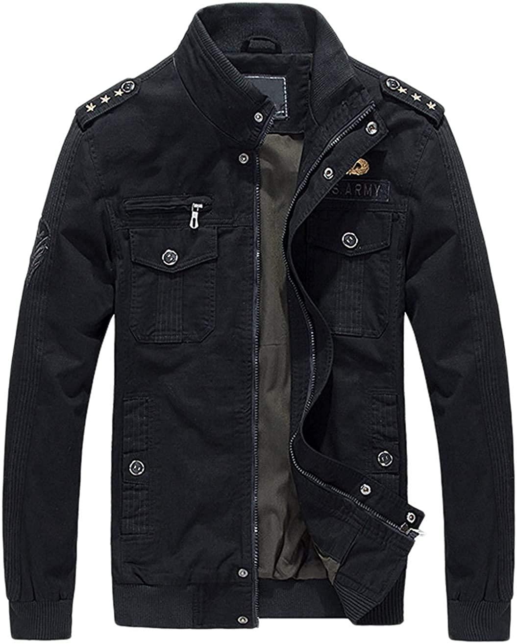 Men's Military Stylish Zip-Front Lightweight Cotton Bomber Jacket,Black,X-Small